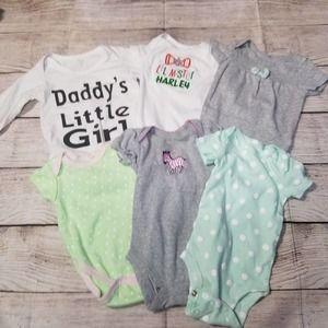 BUNDLE of 6 assorted girls 0-3 months onesies